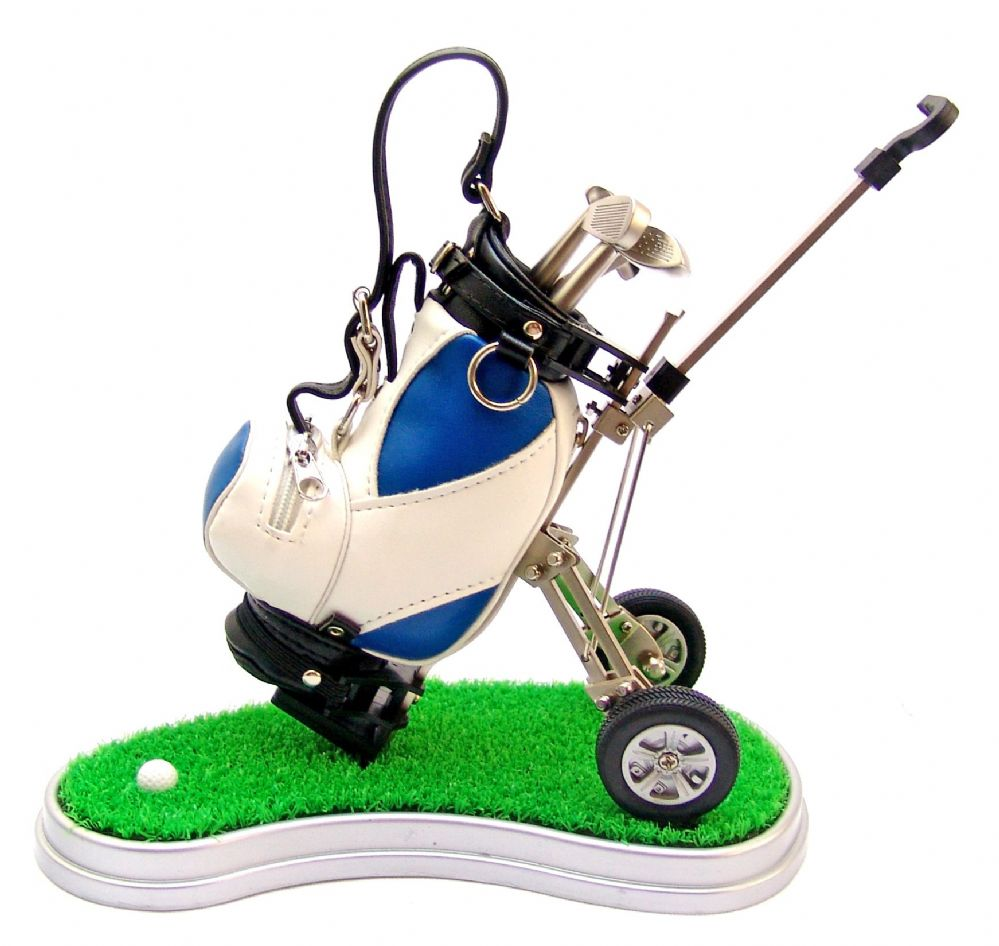 Model Golf Trolley Pen Holder Desk Set With Base  With 3 Golfers Novelty Pens  Can Engrave